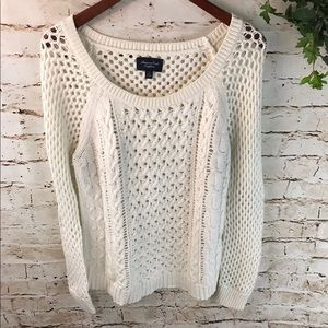 AEO Cable Knit Crochet Crew Neck Sweater